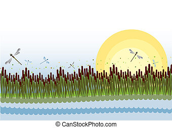 Scenery about lake - vector - illustration
