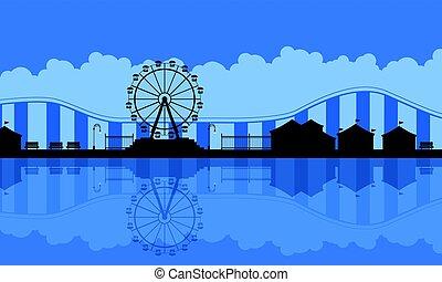 Scenery amusement park background silhouette