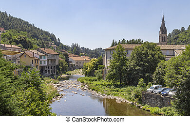 scenery around Vals-les-Bains, a commune in the Ardeche department located at the Volane river in southern France
