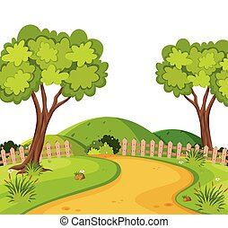 Scenery background of dirtroad in the park