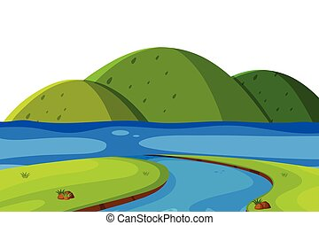 Scenery background of green mountains and river