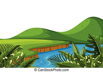 Scenery background of mountain and river
