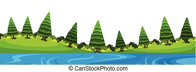 Scenery background of pine trees and river