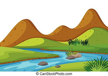 Scenery background of river and mountains