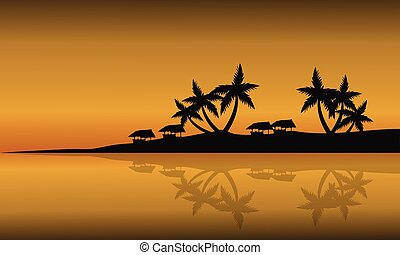 Scenery beach of silhouette at sunset