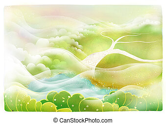 scenery - a beautiful drawing of scenery with plant and lake