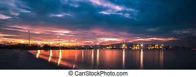 scenery dusk on a beautiful harbor.