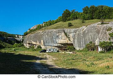 Scenery for the film's shooting Diamonds of Stalin at Cave City in Cherkez-Kermen Valley, Crimea
