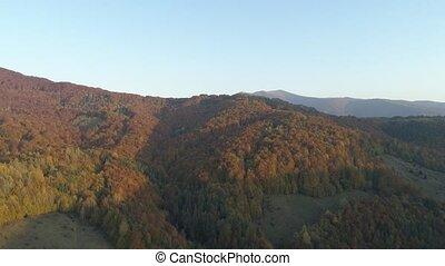 scenery., herfst, berg, carpathians, vliegen, europe., op,...