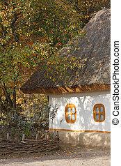 scenery., hut., herbstlich, ukrainisch