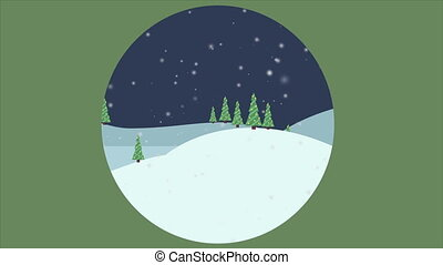 Scenery of Christmas with car on the hill animation...