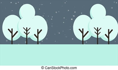 Scenery of Christmas with snow animation