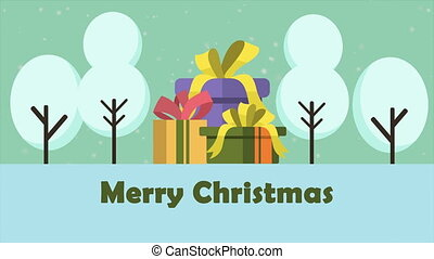Scenery of Merry Christmas with gift animation
