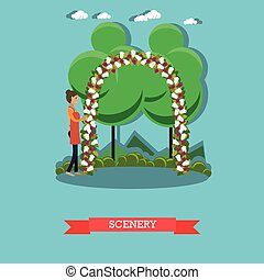 Scenery of outdoors wedding ceremony vector illustration in flat style
