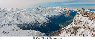 Scenery of snow covered mountains valley Titlis, Engelberg,...