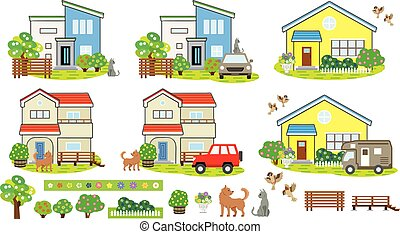 Scenery of the houses with animals and flowers