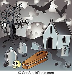 Scenery on cemetery with coffin