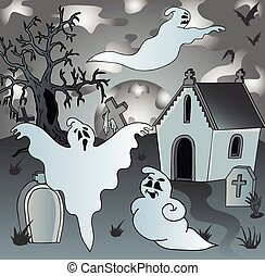 Scenery on cemetery with ghosts 2