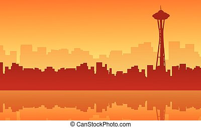 Scenery seattle space needle tower silhouettes vector...