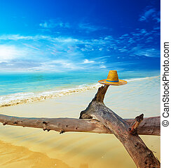 Scenery tropical landscape at sunny day. Travel creative concept background with blue sky with clouds, azure sea water, tree trunk and hat.