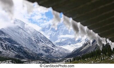 scenery view of a Belukha mountain and mountain ridge from...