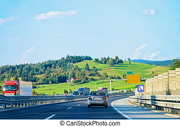 Scenery with hills and Car Road Maribor Slovenia