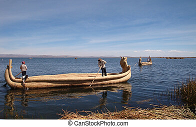 scenery with reed boats around Lake Titicaca in Peru (South America)
