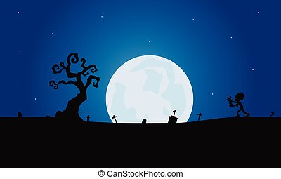 Scenery zombie and tomb silhouette with moon