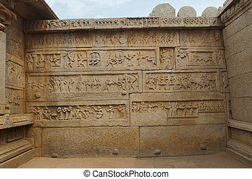 Scenes from the Ramayana carved on the inner side of the ...