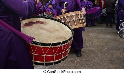 scenes from the spanish town of  calanda in spain where thousdands of people drum continuously for 3 days during easter