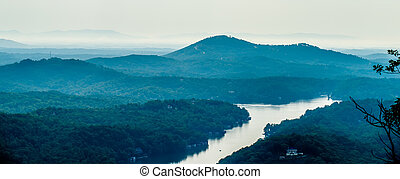 scenes near chimney rock and lake lure in blue ridge mountains north carolina