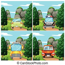 Scenes with different cars on the road