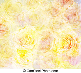 Scenic abstract floral background with roses made with color fil