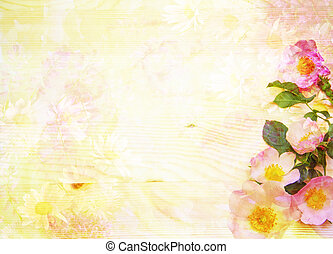 Scenic abstract floral background with wild roses made with colo