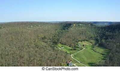 Scenic aerial view of Central Kentucky countryside near Berea