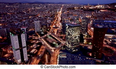 Scenic aerial view of Plaza de Europa of Barcelona in night lights