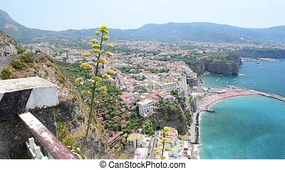 Scenic aerial view of Sorrento, Italy, during summertime