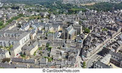 Scenic aerial view of summer cityscape of Dinan overlooking ...
