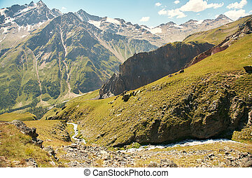 alpine landscape with mountain and river