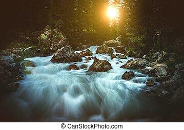 Scenic Alpine Waterfall Sunset