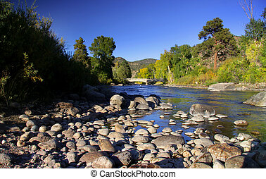 Scenic Arkansas river in Colorado rocky mountains