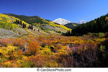 Scenic autumn landscape in Rocky mountains of Colorado