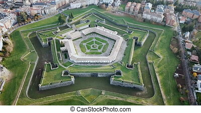 Scenic autumn view from drone of Spanish city of Jaca with pentagram-star shaped Citadel. High quality 4k footage