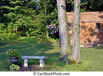 scenic backyard - pretty scenic backyard with shed and trees...