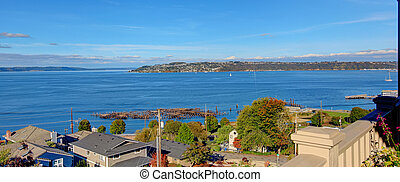 Scenic bay view. Puget Sound in Tacoma, WA