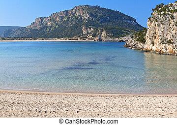 Scenic beach of Voidokilia near Pilos village of the Peloponnese peninsula in Greece