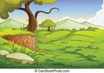 easy to edit vector illustration of landscape scene