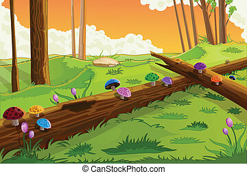 Scenic Beauty of Fairy Tale - easy to edit vector...