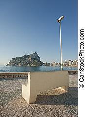 Scenic bench overlooking Calpe resort town