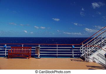 scenic beskåda, av, kryssning skeppa, däck, och, ocean